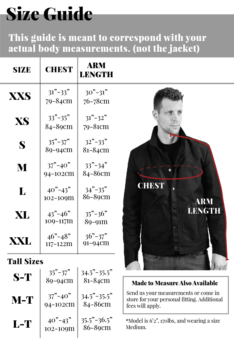 YNOT Lakewood Jacket Size Guide FOR BODY